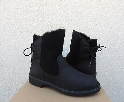 91b1ec08230 UGG NAIYAH BLACK 1016850 LEATHER CORSET BACK ANKLE BOOTS WOMENS US ...