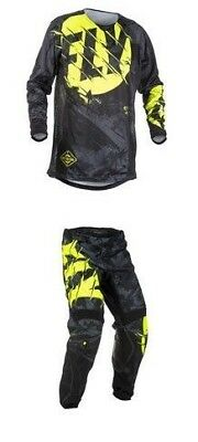 Fly Racing Kinetic Outlaw Black / Hi-Viz Pant and Jersey Set 34 / Large