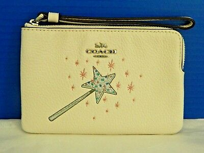 Nwt Coach Wizard Of Oz Chalk Pebble Leather Wand Corner Zip Wristlet/bag 39271