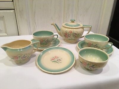 "Susie Cooper Art Deco Dresden ""Spray Green"" china tea set."