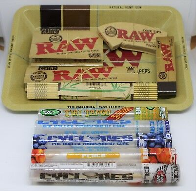 Raw Small Mini Rolling Tray Kit Gift Set Classic Organic Hemp + 5 Cyclones