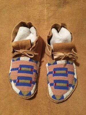 Hand stitched, beaded Crow moccasins, traditional braintan buckskin