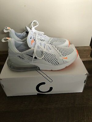 Nike Air Max 270 Just Do it Mens AH8050-106 White Black Orange Shoes Size 10.5