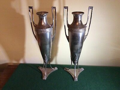 Tall pair of WMF Style Art Deco Metal Vases