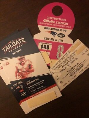2 New England Patriots vs. New York Jets Tickets Dec 30th w/ Tailgate & Parking