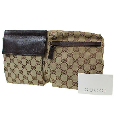 Gucci Gg Toile Rayure Sac Banane Brun Italie Vintage Authentique  P549 Z e1223aacde7