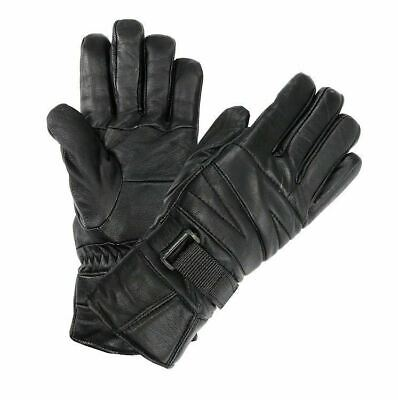 Men's Classy 100% Leather Winter Gloves w/ Fur Lined Warm Black Motorcycle