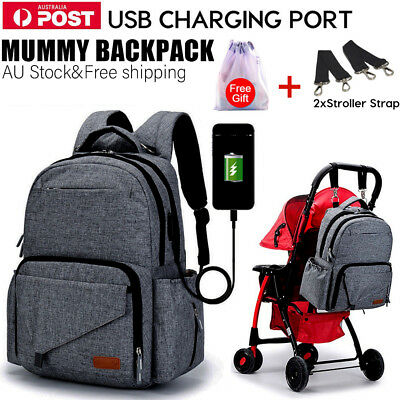 Multifunctional Baby Nappy Backpack Waterproof Mummy Diaper Bag with USB Port AU