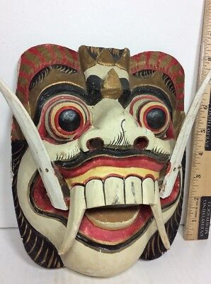 Vintage Hand Carved Wooden Painted Decorated Ceremonial Tribal HORNED MASK FANGS