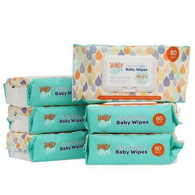 HappyBum Unscented Sensitive Baby Wipes 99.5% Purified Water Natural Care Fac...