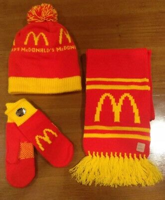 Vintage NEW McDonald's Knit Winter Hat & Scarf & Mittens Set  Never Worn