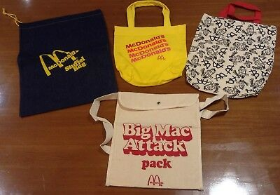 Vintage MCDONALD'S Canvas Bag LOT 4 Bags Speedee Big Mac Attack Stuffel Bag NEW