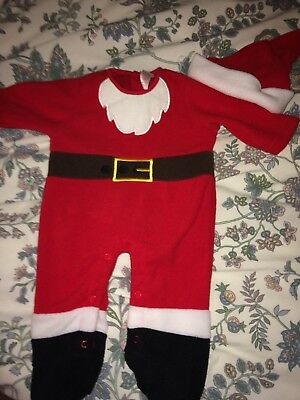 Father Christmas outfit Santa suit babygro all in one age 0-3 months