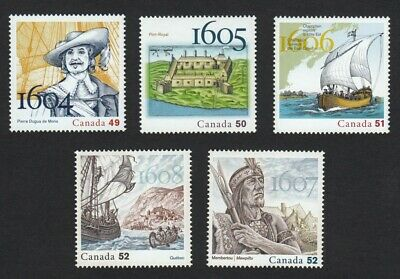 400 Years of FRENCH SETTLEMENT = Complete 5 years set of 5 stamps Canada 2004-08