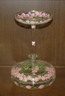 Vintage/antique Glass Compote & Covered Candy Dish Combination Enameled Roses