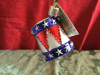 PATRIOTIC DRUM Old World Christmas Glass Ornament New with Tag