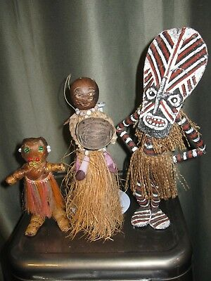 3 Vintage Native African- Africa Doll Figurines- Grass Dolls- Mask- Hand Made
