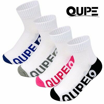 24 Pk Qupe Men Women Kids Cotton Rich Low Cut Sports Ankle Running School Socks
