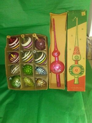 Vintage 50s SHINY BRITE Glass Christmas Pink Tree Topper & Ornaments Made in USA