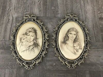Vintage Girl Victorian Style Silk Ornate Oval Picture Frame Wall Hanging Great