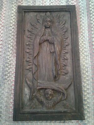 Antique Hand Carved Wood Wall Panel Bas Relief Tableaux Santa Marie De Guadalupe