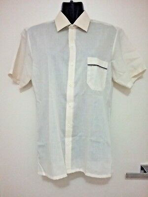 Size S  Size M Men's Beige Short Sleeve Button Down Vintage 'pierre Cardin Shirt