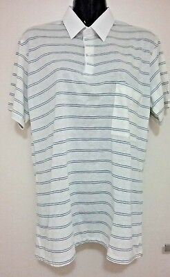 Size M Men's White Blue Stripe Short Sleeve Vintage 'gloweave' Polo Shirt