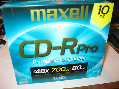 Maxell CD-Rpro 10 Pack 48x Triple Coated New/Sealed 10 Pack
