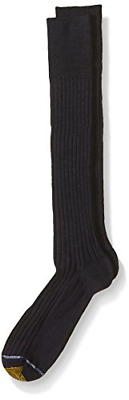 Gold Toe Mens Windsor Wool Over the Calf Dress Sock, Navy,  3-Pack, Size 10-13