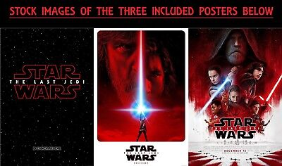 Set of 3 Disney Star Wars The Last Jedi 27x40 Theatrical Posters Teasers + Final