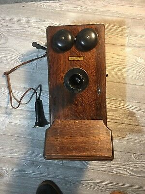 ANTIQUE Wooden FLAPPER WESTERN ELECTRIC CRANK TELEPHONE For Parts Broken 317