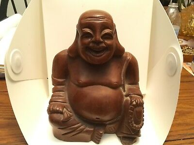 Vintage Wood Carved Laughing Buddha