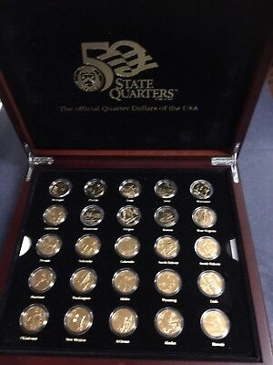 Boxed  Set Of 50 State Gold Plated Usa Quarter  Dollar  Coins