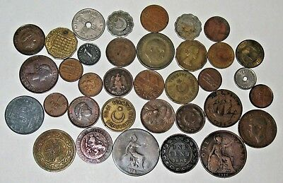 OLD FOREIGN COIN LOT WITH 1800s & 1900s ~ VINTAGE COIN COLLECTION! ~ (06b)
