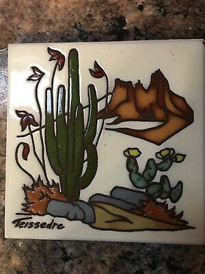 Vintage Cleo Teissedre Hand Painted Tile Trivet Wall Decor Cactus, Flowers Rocks