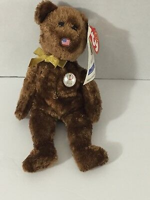 05bade9b5c6 TY Beanie Baby Champion Bear 2002 FIFA World Cup w  TAGS USA Flag Nose  RETIRED