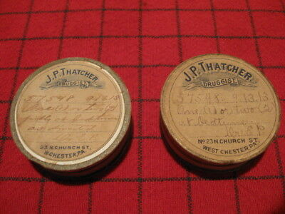 2 Antique Pill Containers J P Thatcher West Chester PA 1913
