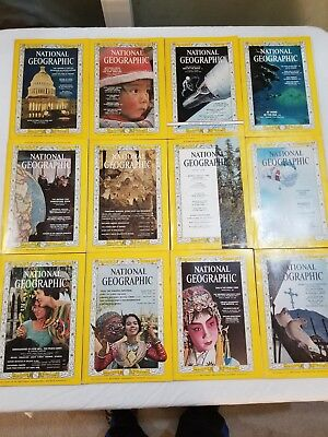 Lot of 12 - National Geographic Magazines - Complete Year - 1964 (Jan - Dec)