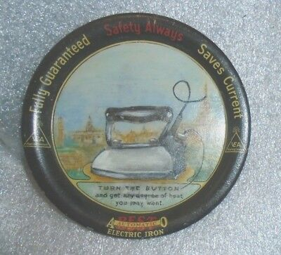 graphic old  tin litho tip tray advertising Best Automatic Electric Iron
