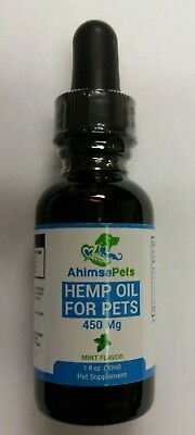 Ahimsa Organic Hemp Oil for Dogs Cats Pets Hip Joint Anxiety Pain Relief 450 mg