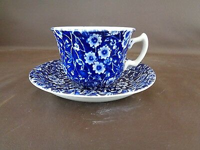 Blue Calico Burleigh Cup & Saucer Set Made in Staffordshire England (Cat.#3C001)