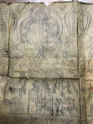 Antique Mongolian Tibetan Buddhist Woodblock Print On Paper.