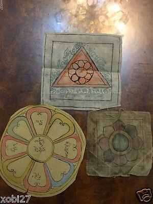 Antique  Mongolian Buddhist Hand Drawn  Amulet Prints On Paper / Cotton