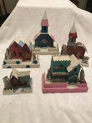 Vintage Christmas Village Putz Paper Houses Set of 5 Made in Japan Trees