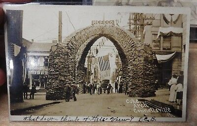 Antique B&w Real Photo Postcard Connellsville Pa Coke Arch Us Flag Cars  1907