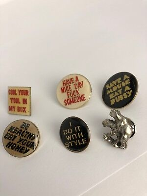 Vintage Unusual Lapel Pin Dirty Mind(XXX) Lot Of 5 👀 From The 1980s Lot #21