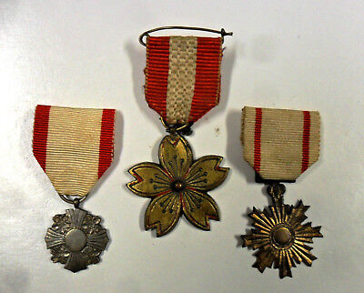 #80. Japanese Meiji-pre-Showa period medals, three different, rare.
