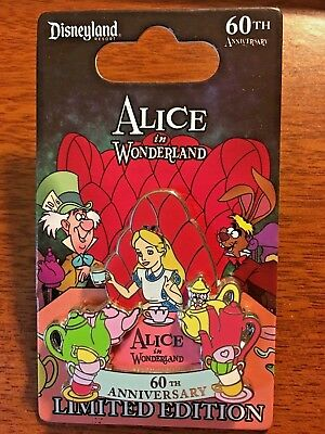 ALICE IN WONDERLAND 60TH Pin Disney Disneyland Mad Hatter Tea Party LE2000