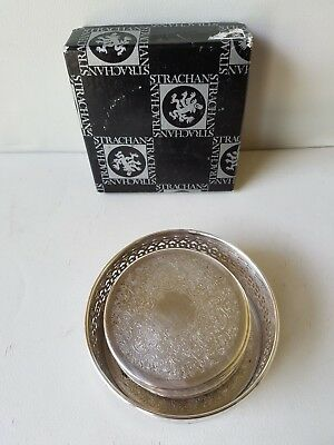 Strachan Silverplate Coasters W/Wine Bottle Holder-Stand - Set of 8 - Vintage