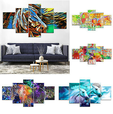 Horse Animal Abstract Canvas Print Painting Framed Home Decor Wall Art Poster 5P